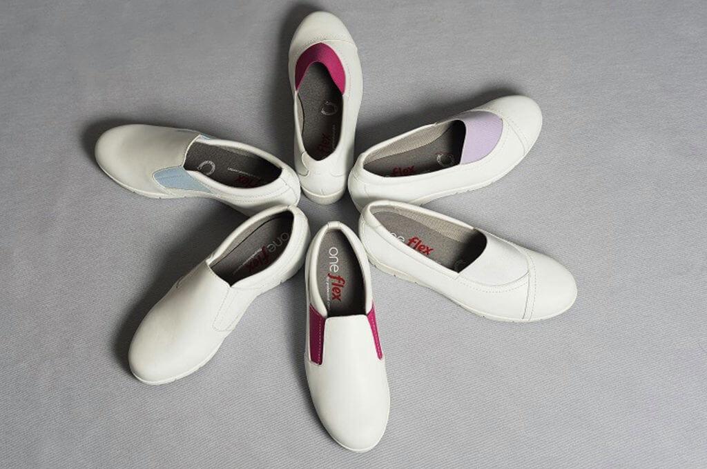 Oneflex | white leather nursing shoes